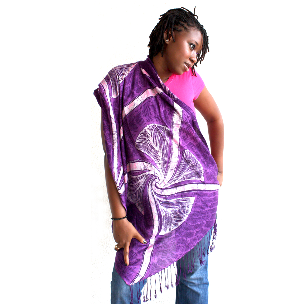 purple adire shawl