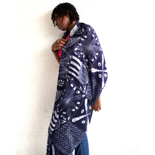 indigo batik shawl