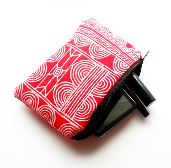 Red Batik Zipper Pouch