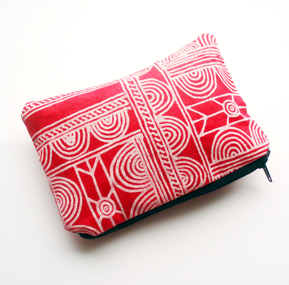 Red Batik Zipper Pouch