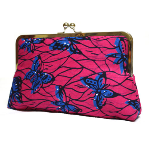 Strawberry Butterfly Print Clutch