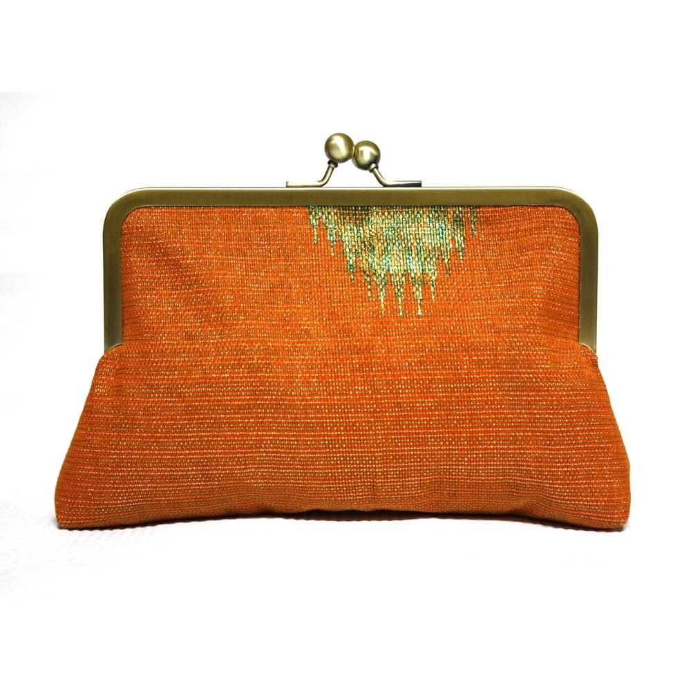 Orange Aso Oke Clutch