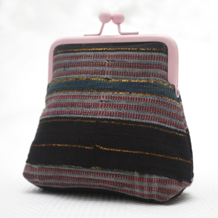 Black and Pink Aso Oke pouch
