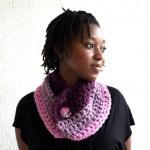 Berry Wool Button Scarflette