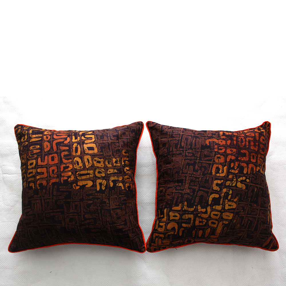 Brown and Orange Batik Cushions