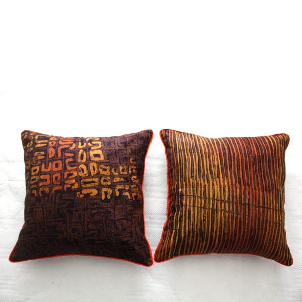 Brown and Orange Batik Cushions