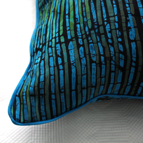 Blue green batik cushion