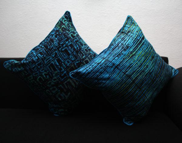 Blue green batik cushion