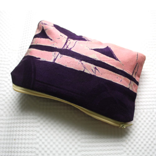 Pink and Purple Adire Zipper Pouch