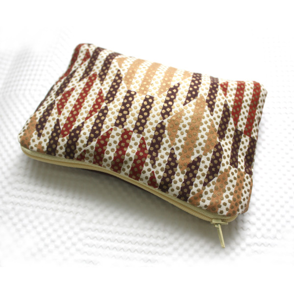 Print and Brown Leather Zipper Pouch
