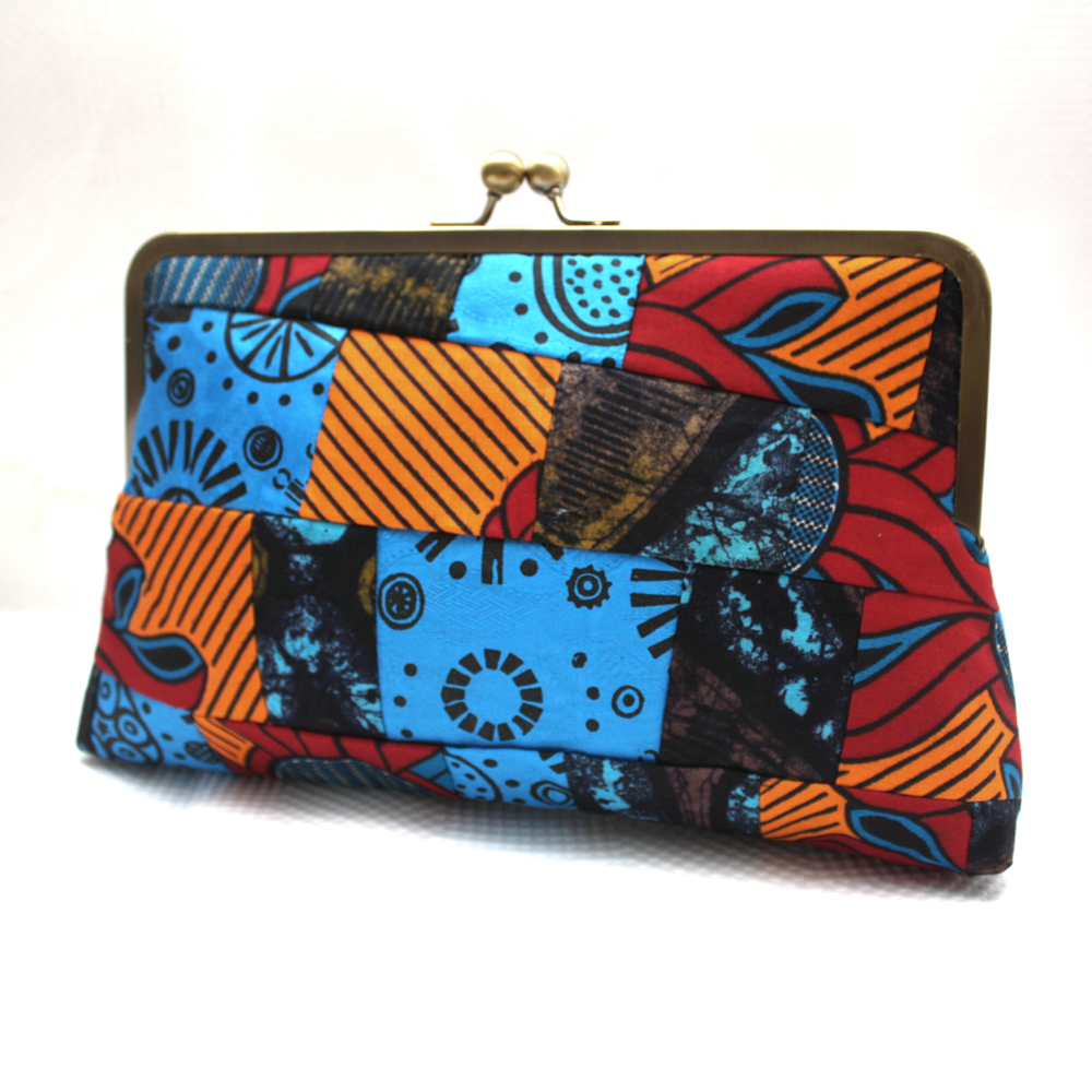 Orange and Blue Patchwork Clutch