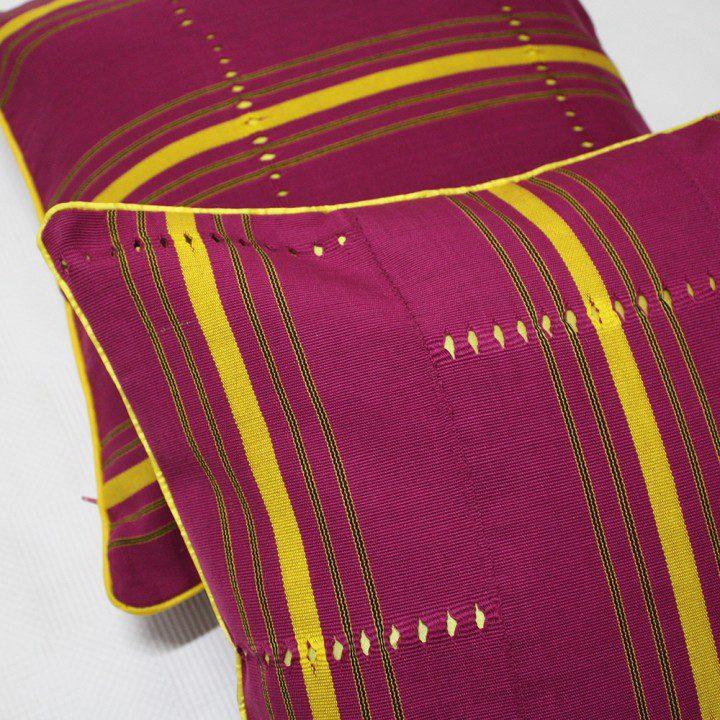 Fuchsia Aso Oke Cushion