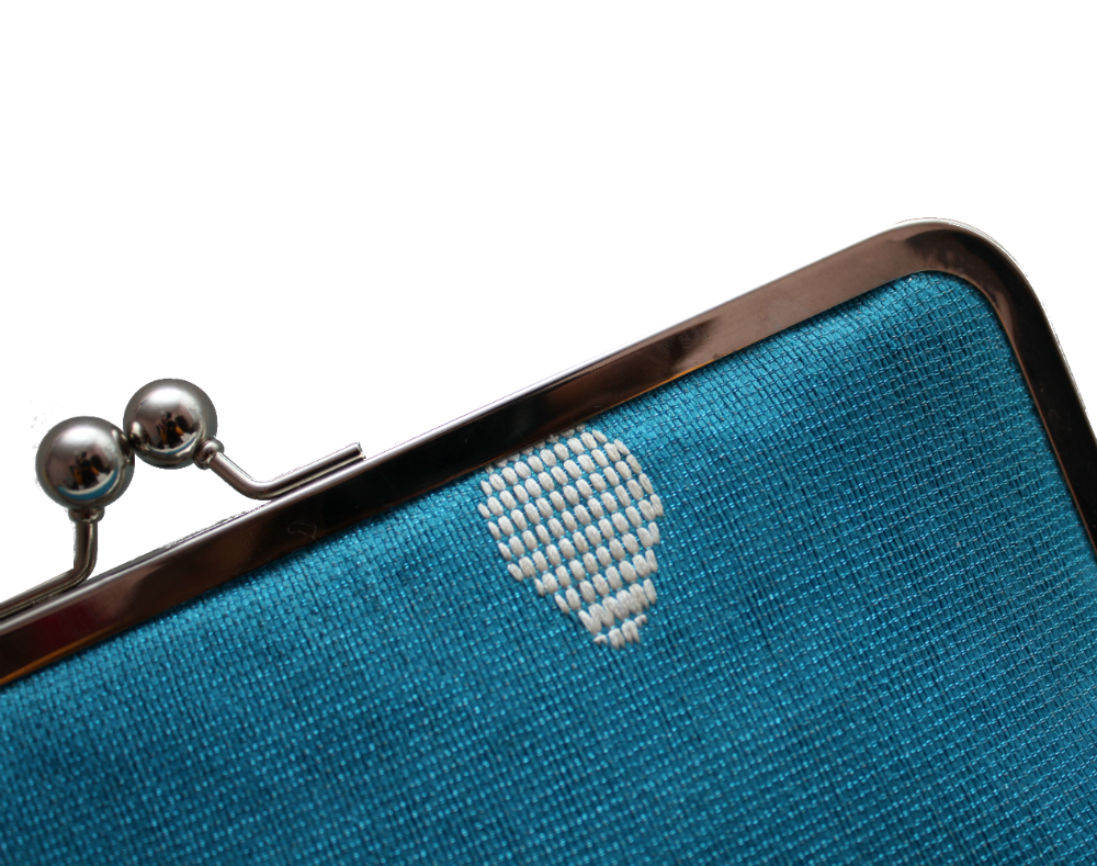 Teal Aso-Oke Supersnap Clutch