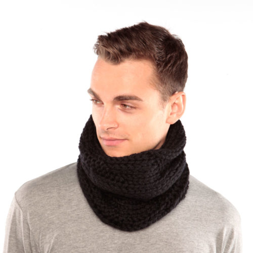 Black wool cowl
