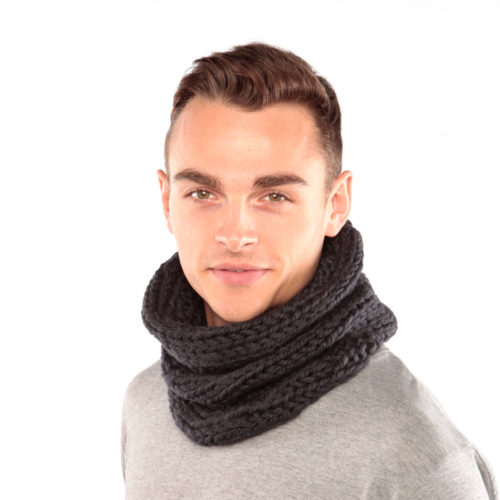 Charcoal Grey Wool Snood