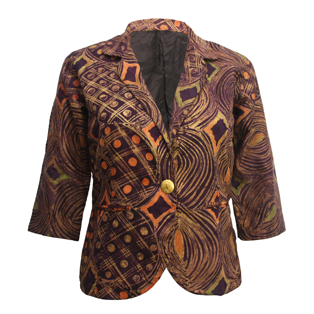 Brown Batik Blazer- Front