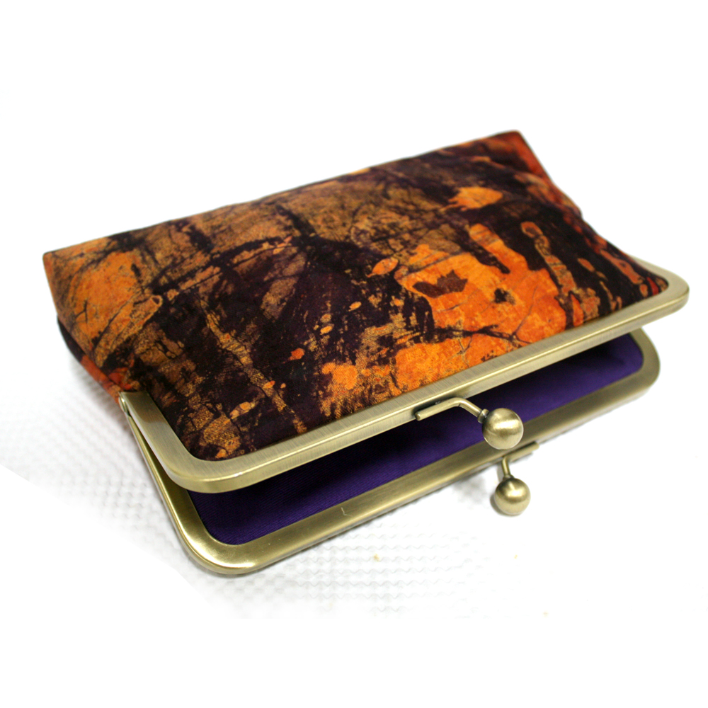 Orange Burst Batik Mini Snap Clutch