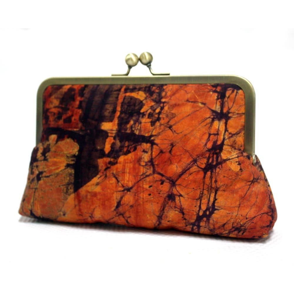 Orange Burst Batik Mini Snap Clutch