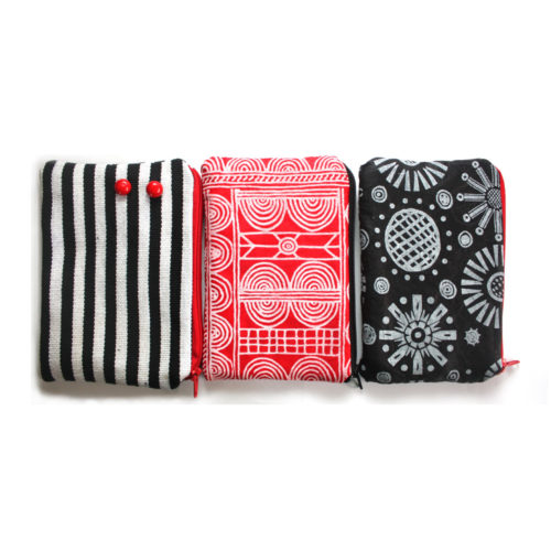 Zebra Red Zipper Pouch Set