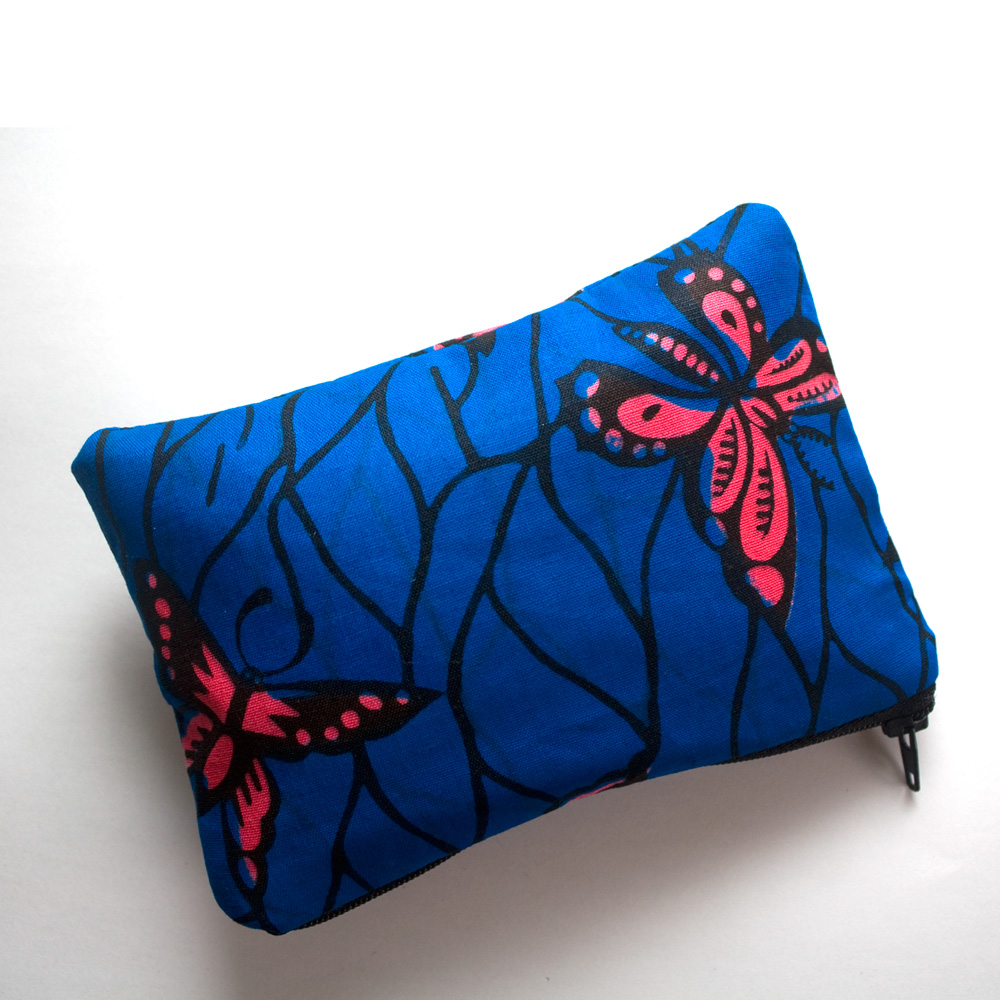 Blue Butterfly print zipper