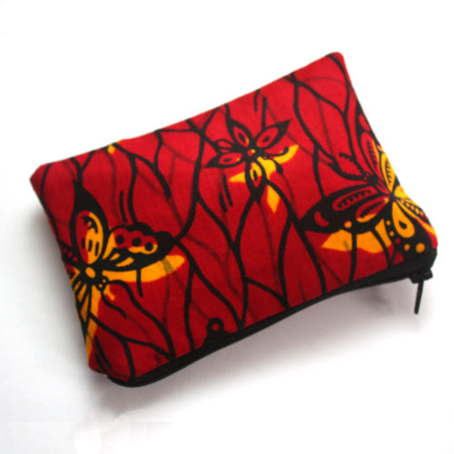 Red Butterfly print zipper