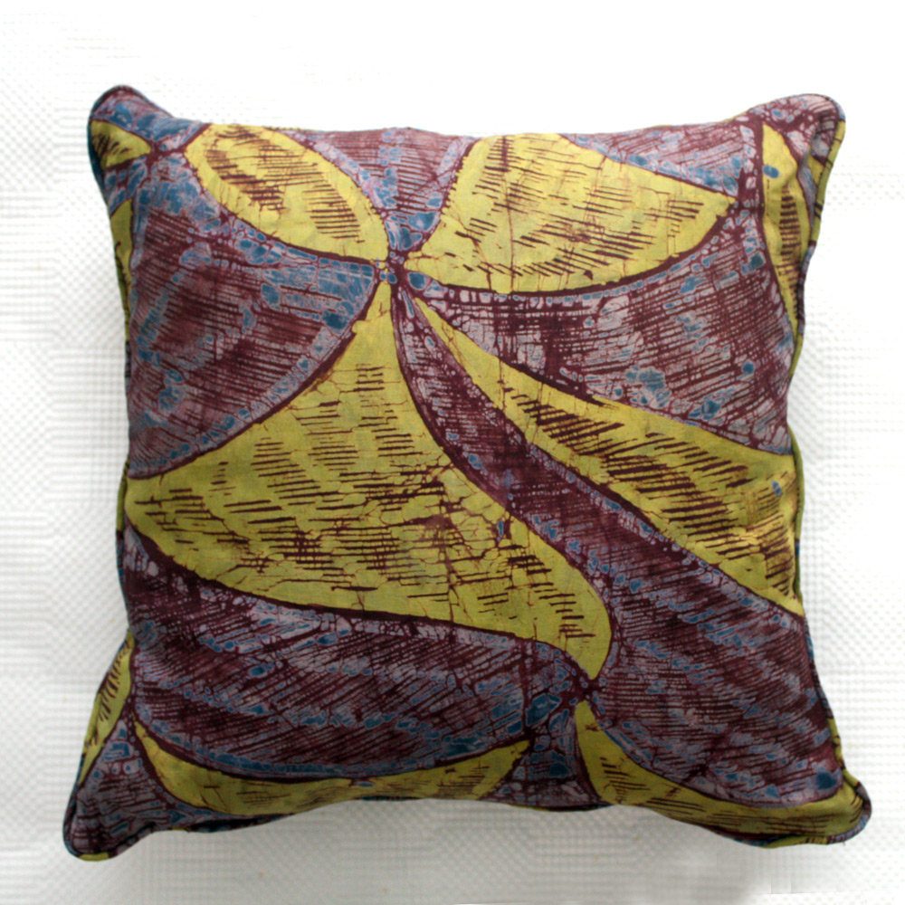 Aubergine and Lime Adire Cushion