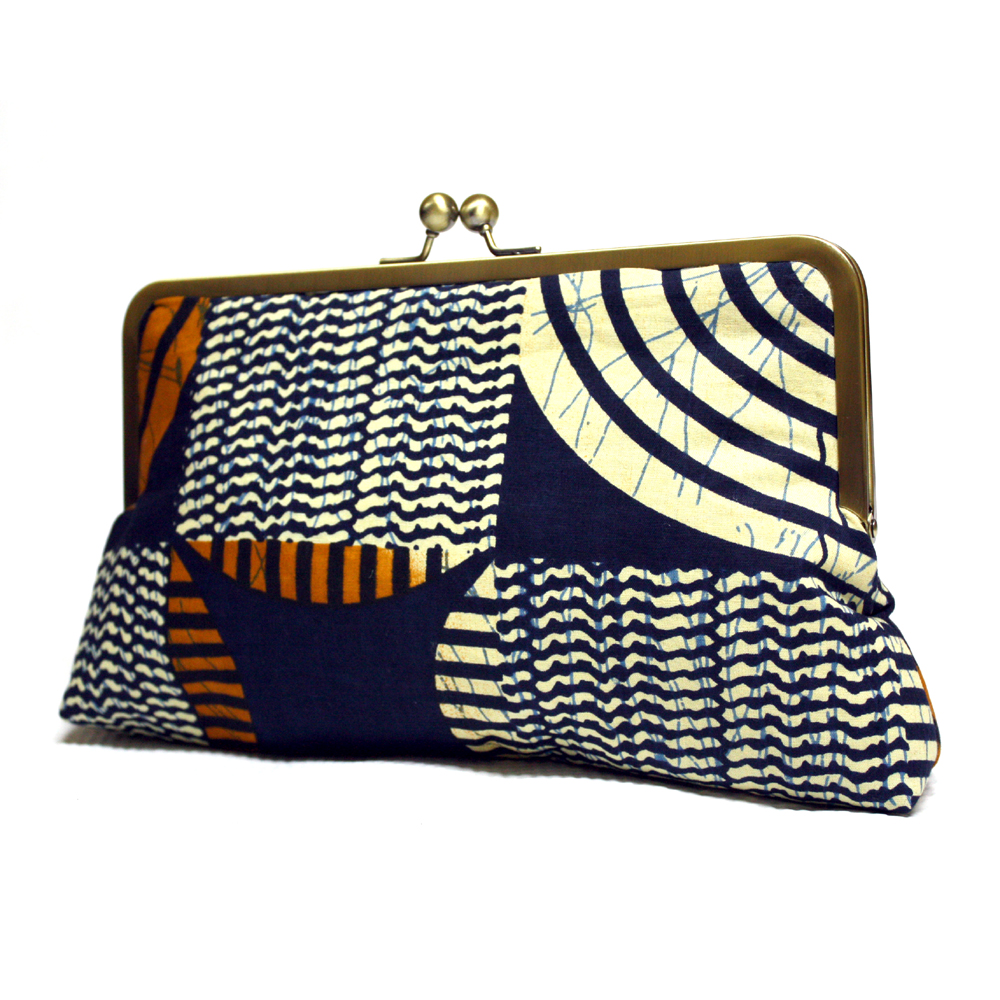 Cream and Navy Ankara Clutch