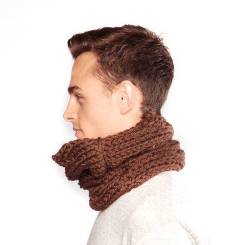 Brown wool snood