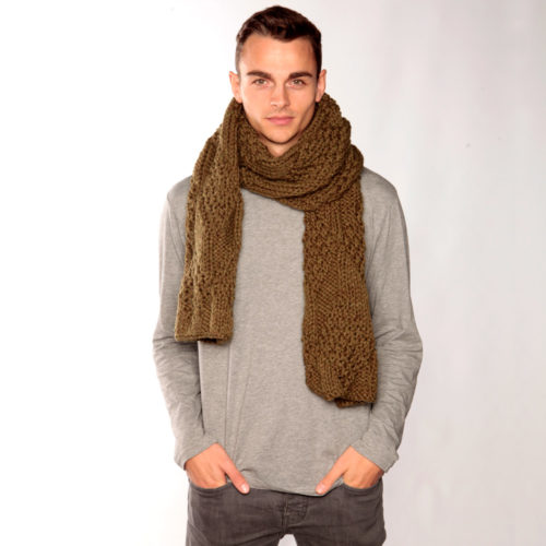 Chunky Knit Army Green Scarf