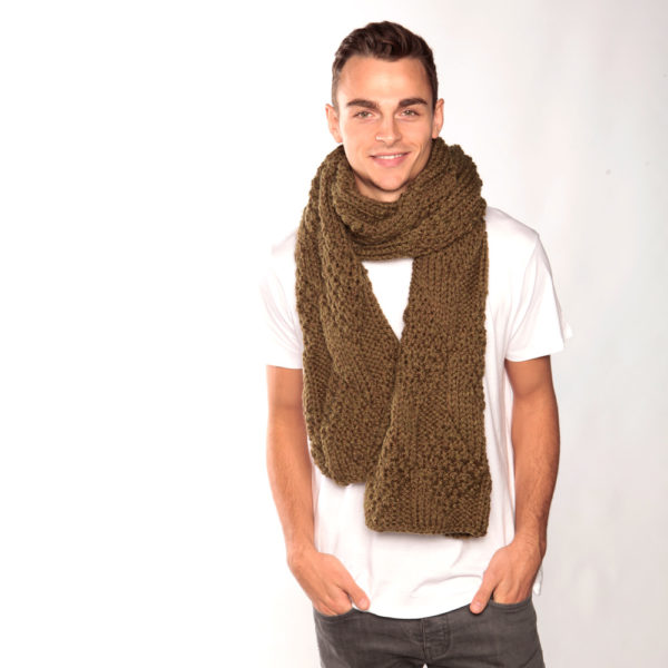 Long Army Green Chunky Knit Scarf