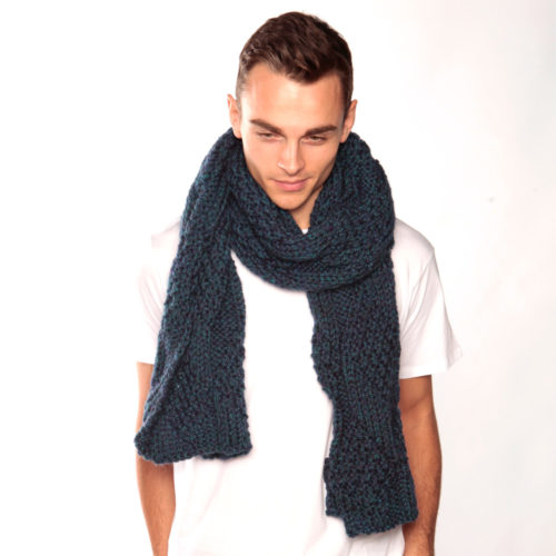Blue Green Knit Scarf
