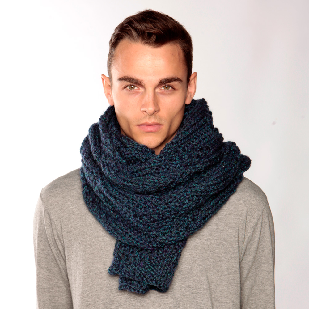 Long Blue Green Knit Scarf