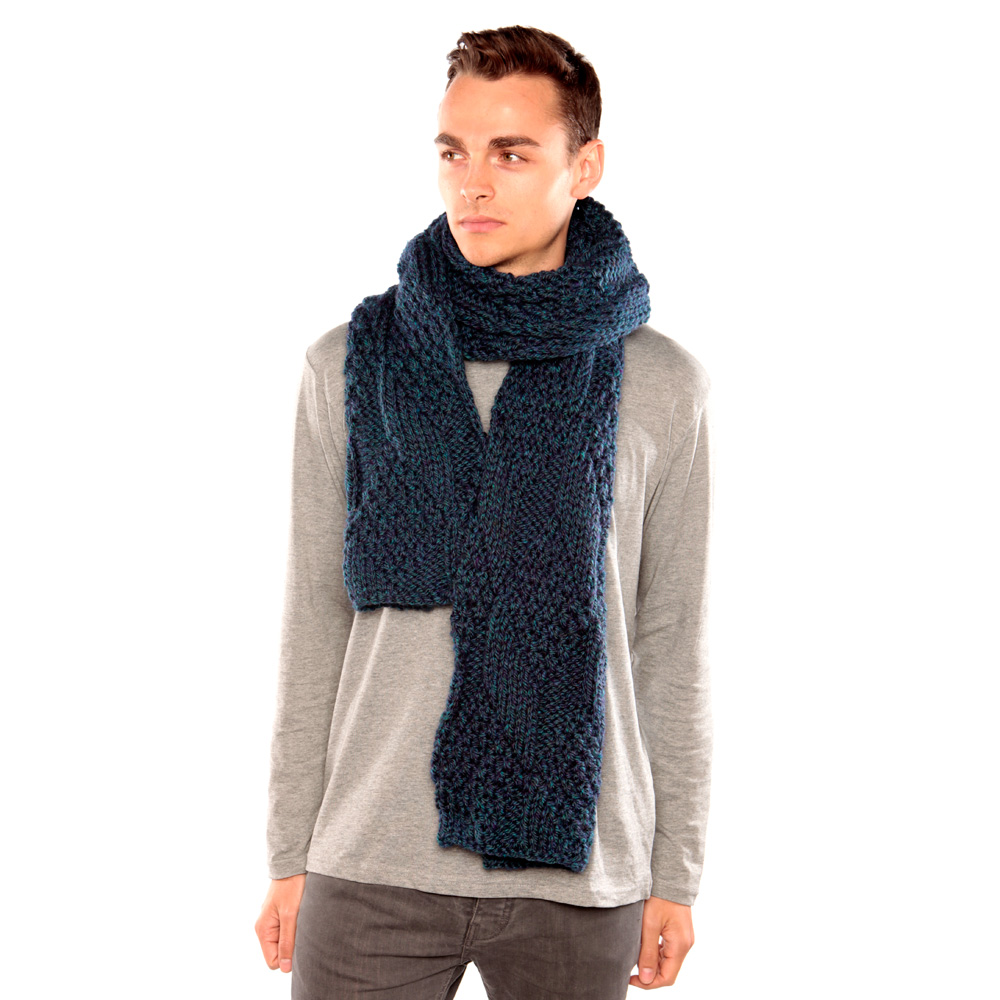 Blue Green Chunky Knit Scarf