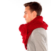 Red chunky knit scarf