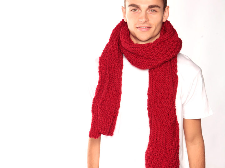 Bright red chunky knit scarf