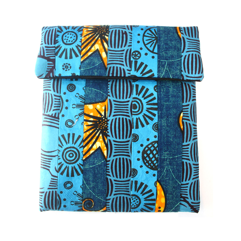 Blue patchwork iPad sleeve