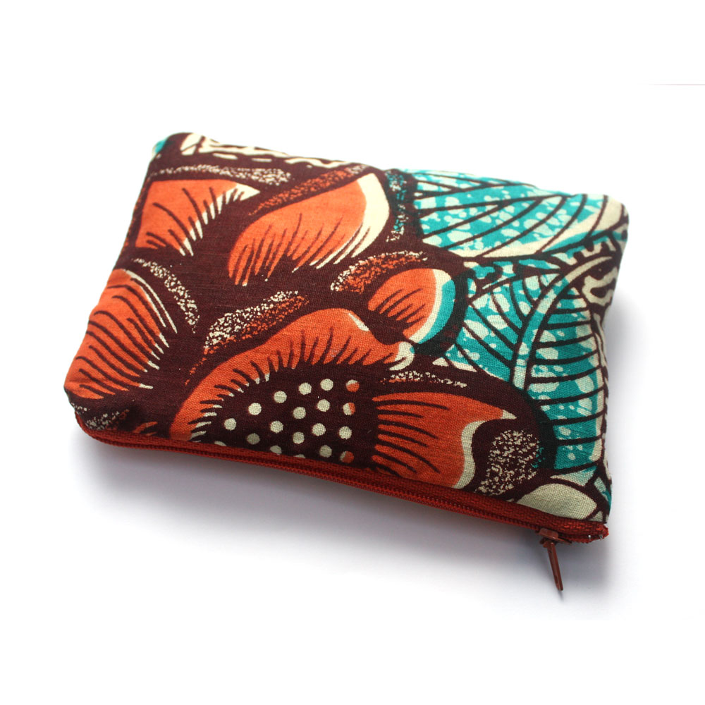 Burnt Orange and Teal Zipper Pouch