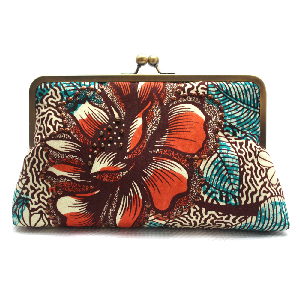 Burnt Orange and Teal Ankara Clutch- Front View