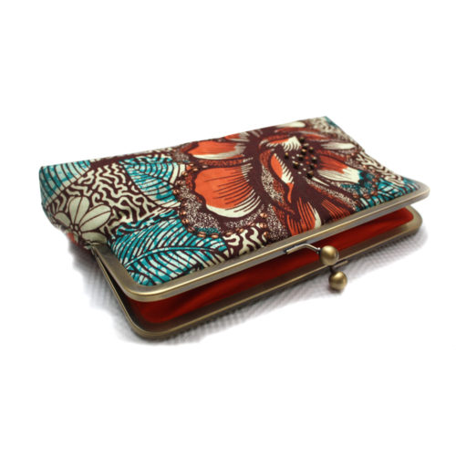 Burnt Orange and Teal Clutch- internal lining