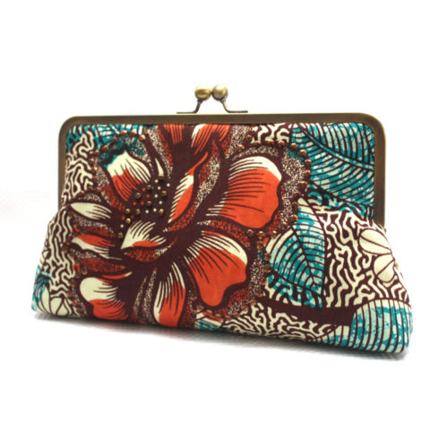 Burnt Orange and Teal Ankara Clutch