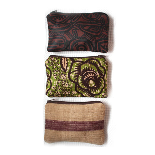 Three African Zipper Pouches