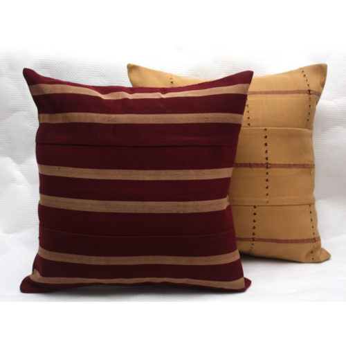 Beige and Maroon Aso Oke Cushions