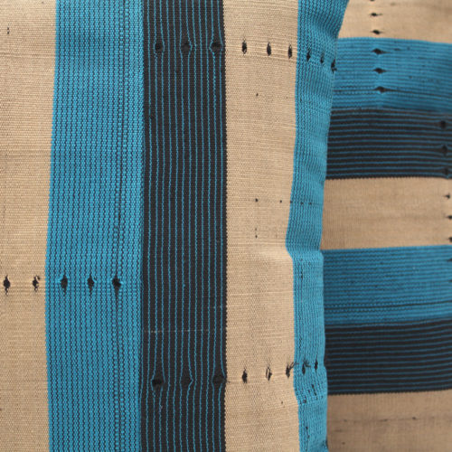 Navy Blue and Turquoise Aso-Oke Cushion- close up detail