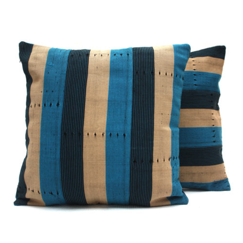 Navy Blue and Turquoise Aso-Oke Cushion- Pair