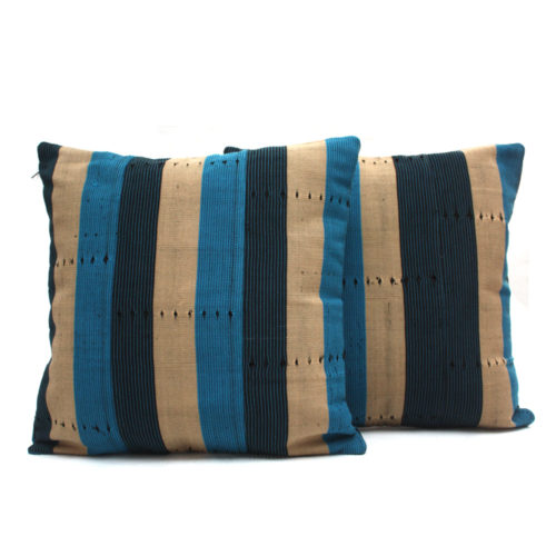Navy Blue and Turquoise Aso-Oke Cushions