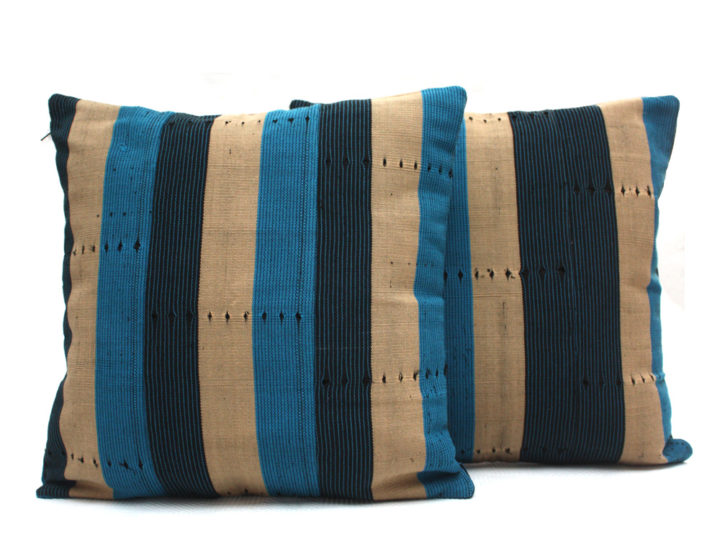 Just In: Navy Blue, Turquoise and Beige Aso Oke Cushions