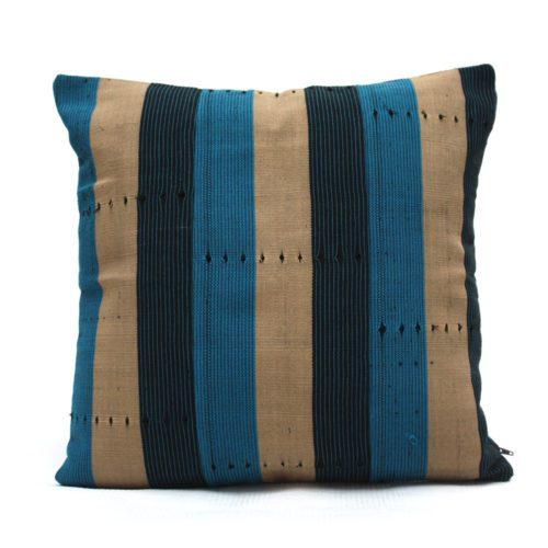 Navy Blue and Turquoise Aso-Oke Cushion- Back