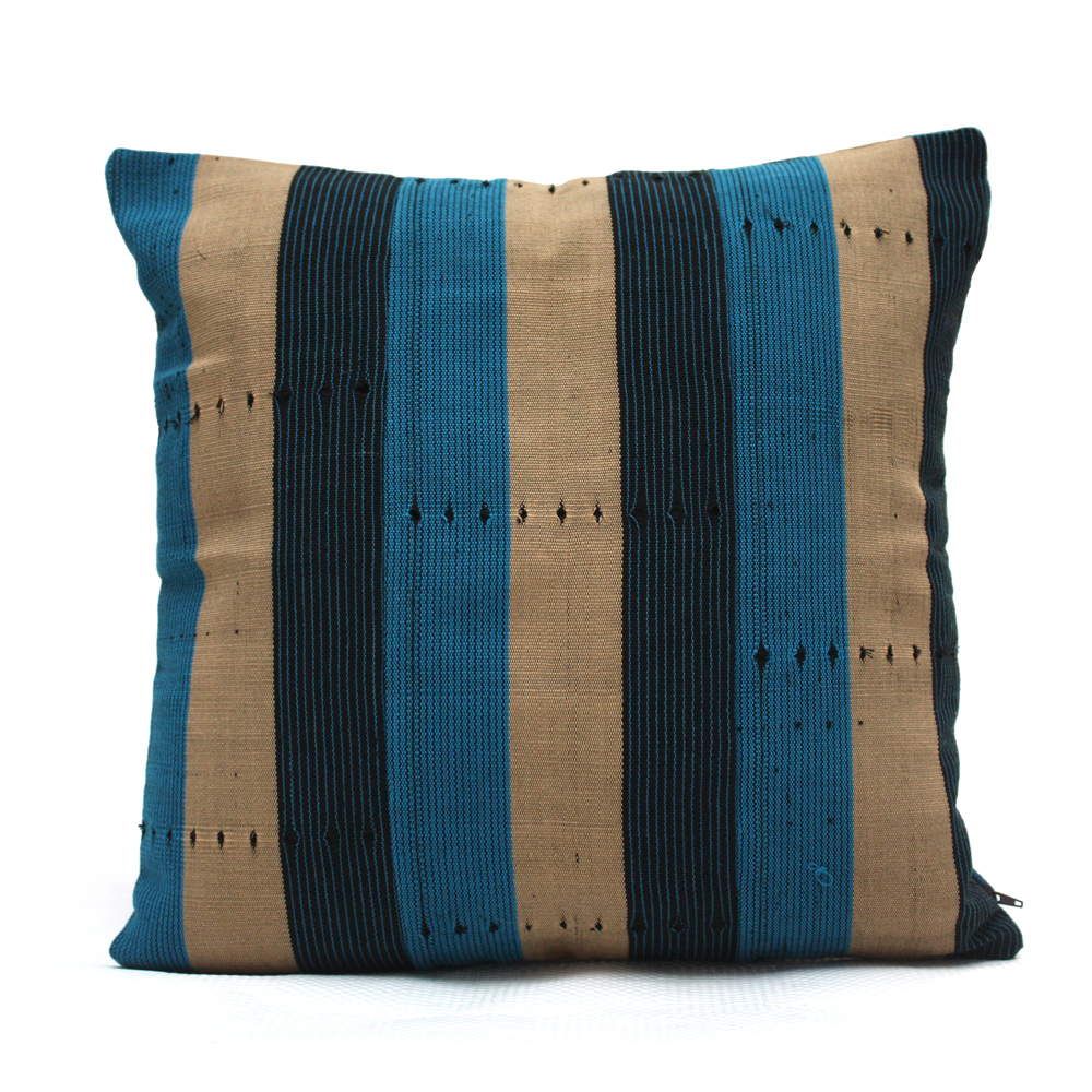 Navy Blue and Turquoise Aso-Oke Cushion- Back