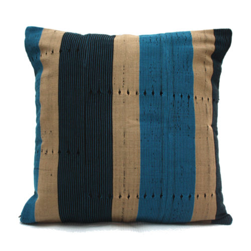 Navy Blue and Turquoise Aso-Oke Cushion- Front