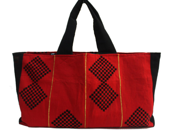 Just In: Red, Black and Gold Aso Oke Tommy Tote- African Beach Bag